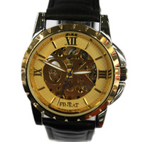 Wholesale Luxury Hollow Dial Leather watchband wrist Automatic Mechanical Watch WristWatch OW13