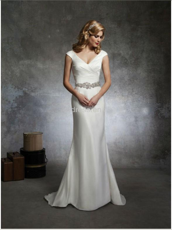 Plain Wedding Dresses V Neck