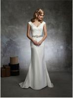 Reference Images beach portrait - Elegant Cap Sleeve V neck Off Shoulder Sheath Beaded Belt Plain White Satin Wedding Dresses Gowns