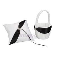 Wholesale New Elegant White Satin Black Stripe Flower Girl Basket amp Ring Bearer Pillow Set