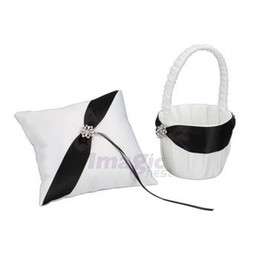 Wholesale New Elegant White Satin Black Stripe Flower Girl Basket amp Ring Bearer Pillow Set