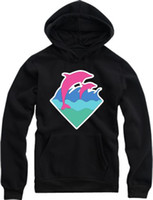Wholesale fashion hip hop hoodies new arrival dolphin printed pullover for spring autumn Pink Dolphin Hoodies colors