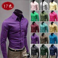 uyuk - 2498 HOT New Fashion Style UYUK Candy color Men s Long Sleeve Shirts Casual Slim Shirt