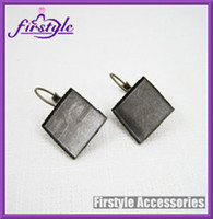Wholesale jewelry settings mm brass bronze vintage square earring hoop earring hook earring base bezels tray