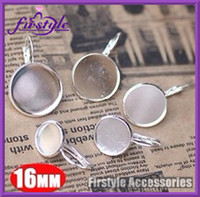 Wholesale jewelry settings MM silver plated brass round earrings hook bezels tray setting