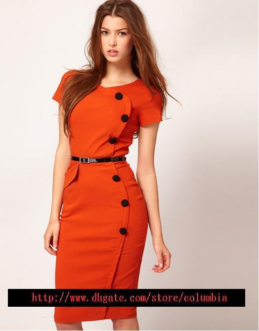 2017 Hot Women'S Fashion Dresses Candy Color Ol Commuter Career ...