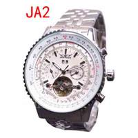 Prezzi Orologi jaragar-nuova JARAGAR Moda Uomo orologi meccanici di Tourbillon in acciaio inox faccia bianca Dive Mens di lusso uomo orologio automatico da polso svizzeri grande 50 millimetri