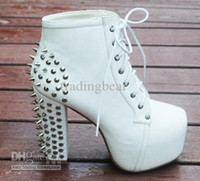 Wholesale Size European Fashion White Punky Rivets Boots High Platform Thick High Heel Boots Colors