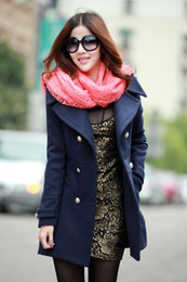 Wholesale new women s coats middle lengh wool double breasted winter thick women s outwear