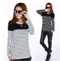 Wholesale women T Shirt plus size Lady Long Sleeve O Neck stripe T shirt colors M L XL XL XL XL C017