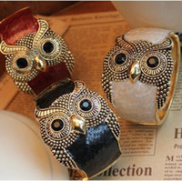 Wholesale Top fashion owl bangles alloy enemal women cuff bangle bracelet mix colors