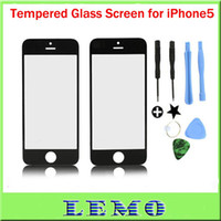 Wholesale For iPhone5 Front Screen Outer Glass Lens Tools Repair Part for iPhone th Black White Color