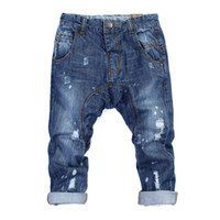 18-36y.4-6A Boys and girls Spring / Autumn 2013 new children boys and girls hole paint jeans denim trousers(5pcs lot)
