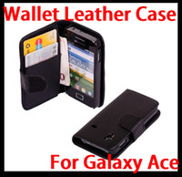 For Samsung ace patterns - Wallet Pattern PU Folio Leather Case Skin Cover Pouch for Samsung Galaxy Ace S5830 Black Low price