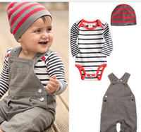 Wholesale Autumn spring baby clothes long sleeve baby romper suspender trousers cap boys suit