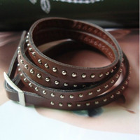 beaded leather cuff bracelet - pc Brown Fashion Multi Wrap Leather Bracelets Bangles Beaded Rivets For Women Men Jewelry Accessories LB1218
