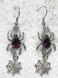 Wholesale Crystal Rhinestone Spider Cobweb Fashion Dangle & Chandelier Chain Earrings Party gift A193