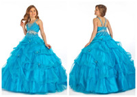 Wholesale 2013 pageant Ball gown ruffles Beaded floor length wedding Junior bridesmaid flower girl dresses