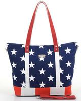 Wholesale USA flag canvas handbag hot sale and high quality America flag shoulder bag