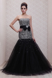 Wholesale Strapless Full Shining Beaded Crystal Black Tulle Bow Mermaid Evening Dresses Formal Gowns ED234