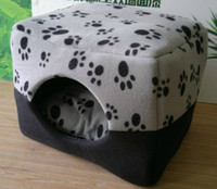 Wholesale 2013 winter classic dual use pet nest cashmere paw print pattern kennel pet house dog sofa bed