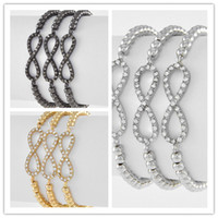 Wholesale 10pcs Mixed Beads Sideways Rhinestone Infinity Connectors Stretch Bracelet Finding