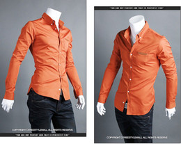 Wholesale 2013 men s shirt pocket with leather standard orange business casual long sleeved shirt