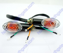 2x Motorcycle Oval Turn Signal Light Indicator Blinker Bulb Mini Amber Black Free shipping