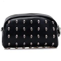 Wholesale Party highlight PU leather Skull punk sling bag cosmetics bag shoulder bag with long belt COOL