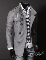 Wholesale 2013 Hot New Mens Double Breasted Slim Trench Coat PEA Woolen coats coat