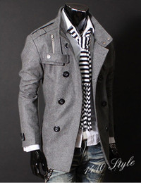 Wholesale 2013 Hot New Mens Double Breasted Slim Trench Coat PEA Woolen coats coat FREE SH