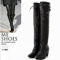 Wholesale New arrival Hot Sale noble handsome black Knight lace up belt buckle knee boots EU35