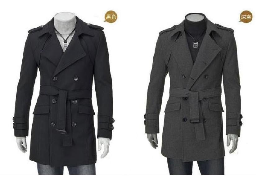 2017 2013 New Fashion Korean Mens Double Breasted Long Overcoat