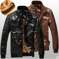Wholesale 2013New Arrival Men s thickening plus Cashmere pu locomotive jacket Korean Slim tide leather jackets