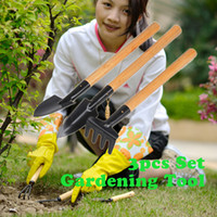 Wholesale 50 sets Mini Garden Plant Tools Set With Wooden Handle Gardening Tool Shovel Rake