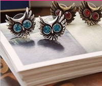 Wholesale Retro Vintage Smart Owl with Flash Drill Big Eyes Cute Earrings