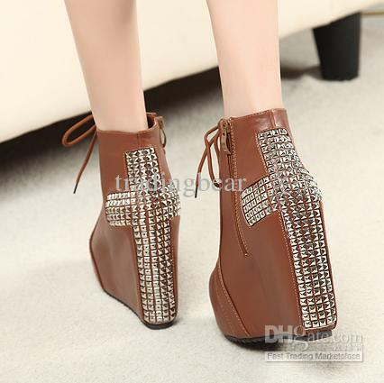 New Black Brown Studded Heels Big Spikes Cross Wedges Heels
