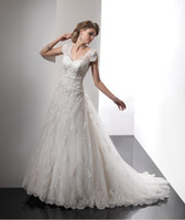 Wholesale NEW Custom Made Top Selling V neckline Organza train Embellished Lace Wedding dresses Bride dress