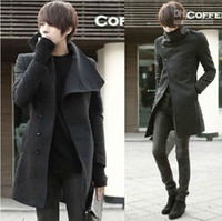 Men coats - New Korean men s Coats woolen Coats single breasted rabato irregular tailor s men s overcoats