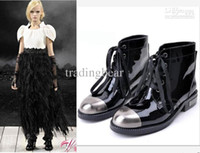 Wholesale 2012 Super Stars Love Black Patent PU Lace Up Flat Heel Women Martin Boots Designer Boots