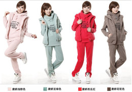 Wholesale New Fashion Women sweater three piece suit autumn and winter Korean sportswear hooded suit FREE SH