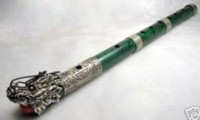 Wholesale inlay TIBET SILVER DRAGON GREEN JADE FLUTE