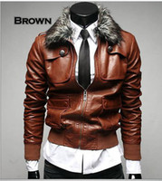 Leather artificial leather jackets - 2013 Fashion Man s Casual artificial leather moto jacket with Fur Collar Removable Collar zipper up
