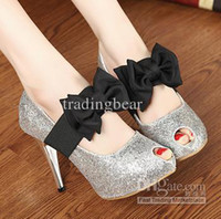 Red Women Spool Heel Prom Wedding Shoes 2 Ways Bowknot Bright Glorious Silver Gold Strappy Stiletto High Heels Shoes