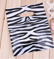 Wholesale Elegant Zebra Strip Printing Plastic gift Bag shopping bag Jewlry bag cm