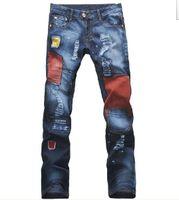 Wholesale 2013 Hot Sale Men s Vintage Distressed Brand Denim Jeans Fashion Patchwork Tight Skinny Jeans Jants