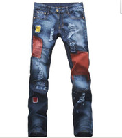Wholesale 2013 Korean Men s Vintage Distressed Brand Denim Jeans Fashion Patchwork Tight Skinny Jeans Jants