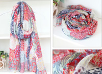 Wholesale Fashion Trend Lady Scarves Football Pattern Scarf Nation Style Voile Wrap Muffler