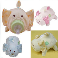 Wholesale Cute Cartoon Pig Style Feeding Bottle Broad Caliber Heat Preservation Cloth Bags Pink Yellow Blue Nursing Bottle Bag Option