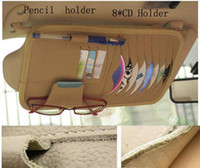 Cheap New 100% leather CD&DVD holder for car,pencil holder, best credit Card Clip,glasses holder Free shipping